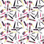 Modello seamless sfondo rosa e nero strumenti fai da te — Foto Stock