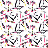 Motif de fond transparente des outils de bricolage rose et noir — Photo