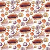 Sea shell sömlös bakgrundsmönster — Stockfoto
