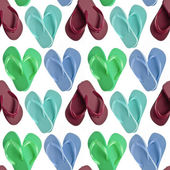 Flip Flop Sandals in Heart Shapes Seamless Background — Stock Photo