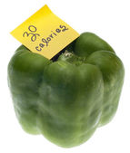 Green Bell Pepper with 30 Calories Handwritten Note — Stock Photo