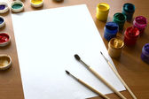 Gouache for drawing on a table — Stock Photo