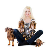 Beautiful blonde girl with puppies — Stock Photo