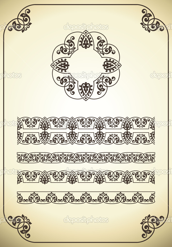 Vintage frame and design elements for wedding deco or invitation card. — Stock Vector #5570772