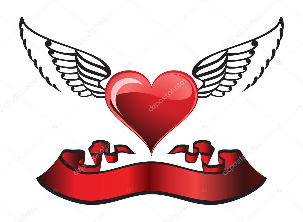 Stylization winged heart with ribbon and ornaments, individual objects. — Stock Vector #5571200