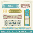 set vector etiketten in art nouveau — Stockvector