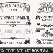 Set of vector labels in art nouveau — Image vectorielle