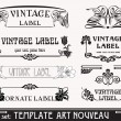 Stock Vector: Set of vector labels in art nouveau