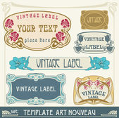 Set of vector labels in art nouveau — Stockvektor