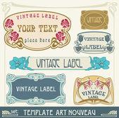 Set of vector labels in art nouveau — Stock Vector