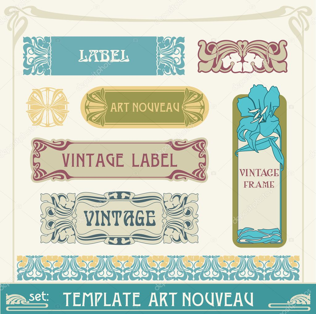 Set of vector labels in art nouveau — Stock Vector #5907913