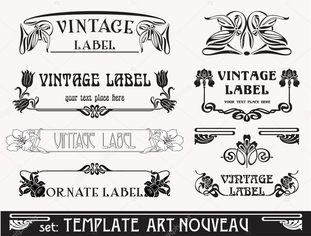 Set of vector labels in art nouveau  Imagen vectorial #5907914