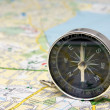 Compass on Dublin city map background. — Stock Photo