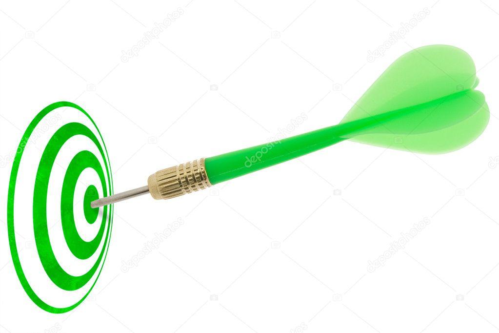 Green Dart Hitting Target