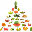 Pyramid of fruits and vegetables. - Stock Photo