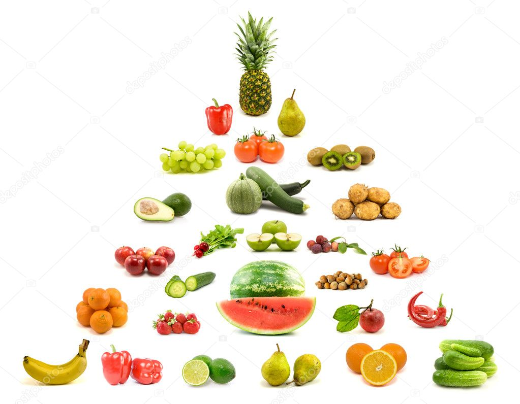 Diet and nutrition. pyramid of fruits and vegetables. — Stock Photo #6165899