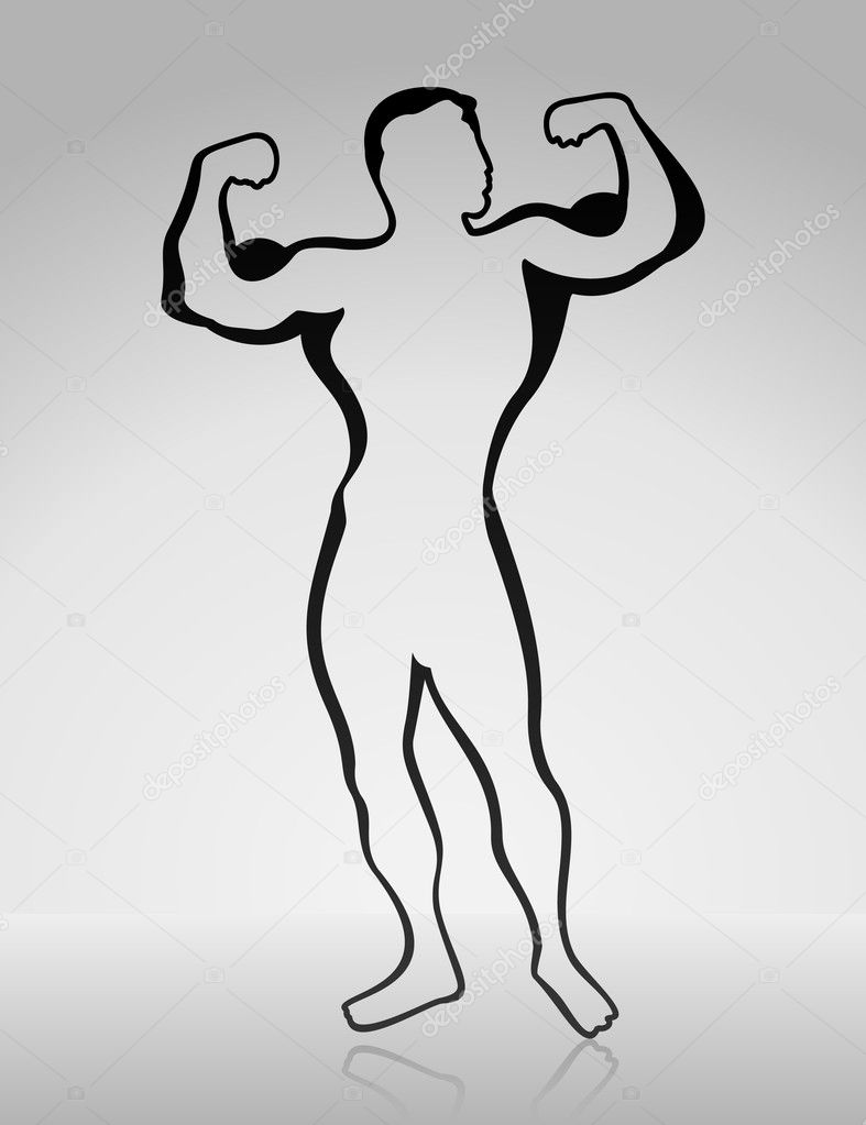The man shows muscles. A vector illustration — Stock Vector #5517042