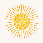 The sun made of plants. — Stock Vector