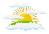 The sun rises against clouds. — Stock Vector