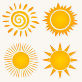 Set of icons on a sun theme. — Stock Vector