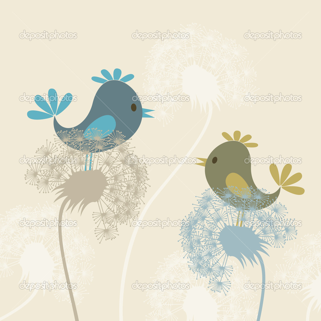 Two birdies sit on dandelions. A vector illustration — Stock Vector #5887498