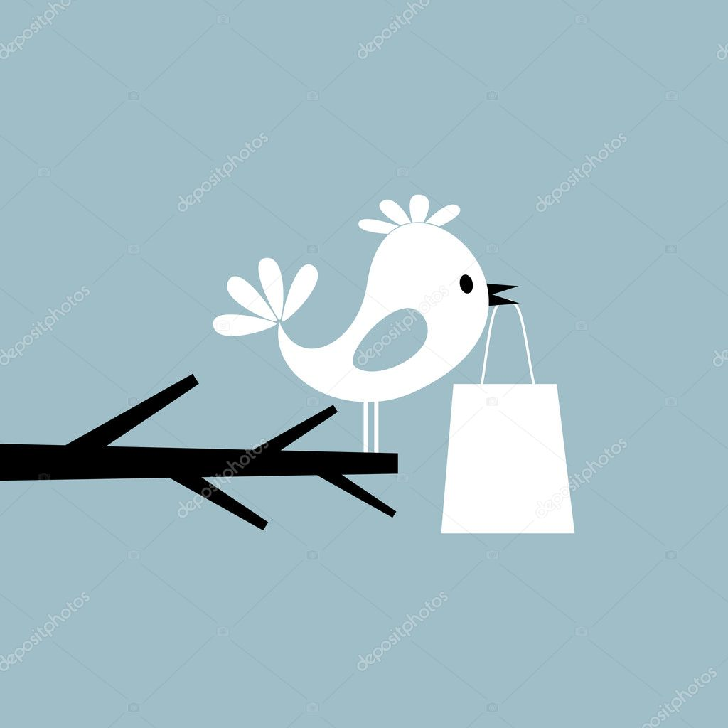 The bird sits on a tree and sings. A vector illustration — Stock Vector #5887500
