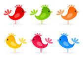 Conjunto de pequenos passarinhos alegres. — Vetorial Stock