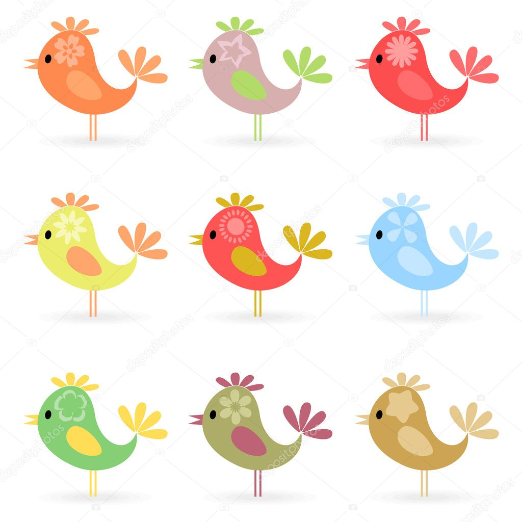 Set of small cheerful birdies. A vector illustration — Stock Vector #6165299