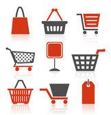 Av ikoner på en tema försäljning och butik. — Stockvektor