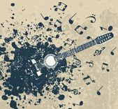 Guitar on a retro — Stock Vector