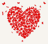 Hjärtat från fjärilar och en blomma av röd färg. — Stockvektor