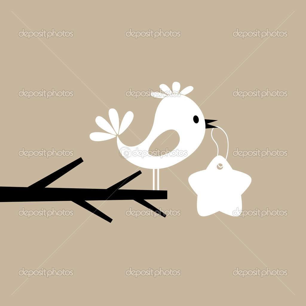 The blue birdie on a branch speaks. A vector illustration  Stock Vector #6292253