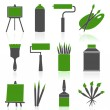 Set of icons for the artist. — Stock Vector