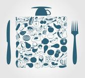Denrée alimentaire dans un carré, un bouchon et un couteau. — Vecteur
