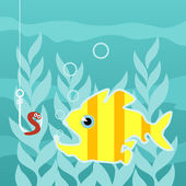 Predatory fish wishes to swallow a worm on a hook. — Stock Vector