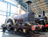 Modern and steam locomotives — Stock Photo