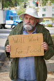 Begging With Sign — Stock Photo