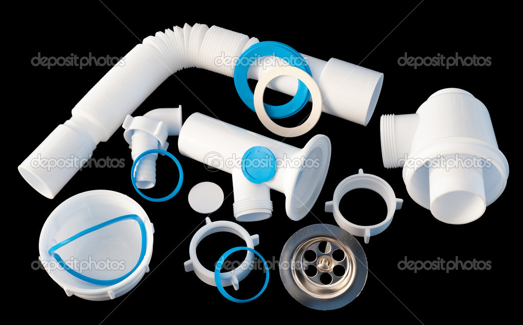 Details of a disassembled PVC kitchen sink trap  Stock Photo #5620236