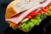Sandwich with ham, macro — Stock Photo