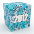 New year 2012. Cube consisting of the numbers - 图库照片