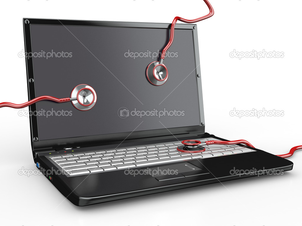 Service for laptop repair. Laptop with stethoscope. 3d  Stock Photo #5464787