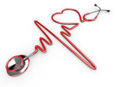 Stethoscope and a silhouette of the heart and ECG — Stock Photo