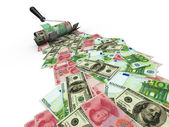 Roller brush with dollar, euro and yuan — Stock Photo