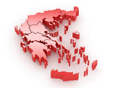 Three-dimensional map of Greece — Stock Photo