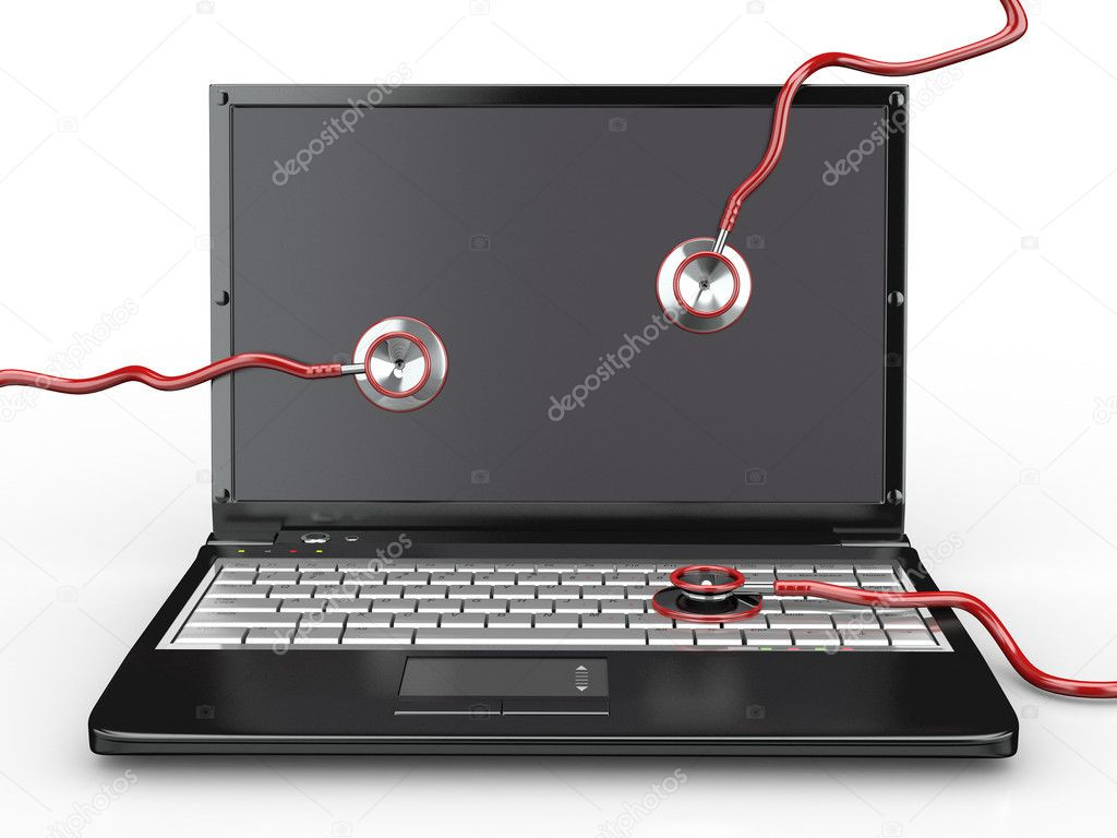 Service for laptop repair. Laptop with stethoscope. 3d — Stock Photo #5626415