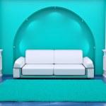 Inteiror. Sofa between the columns in blue room — Stock Photo