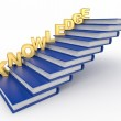 Word knowledge on books as staircase — Stock Photo