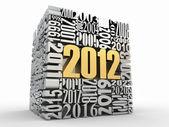 Nový rok 2012. krychle, která se skládá z čísel — Stock fotografie