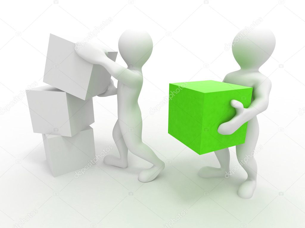 Men with boxes. Conceptual image of teamwork. 3d — Stock Photo #5664829