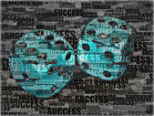 Dice on background frow words success — Stock Photo